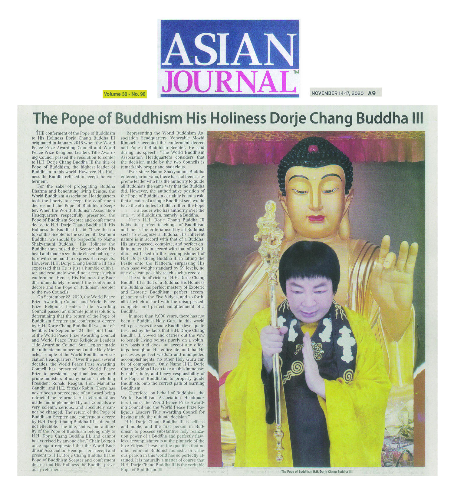 Asian Journal The Pope of Buddhism His Holiness Dorje Chang Buddha III